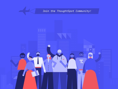 ThoughtSpot Community launch data airplane thoughtspot people design people modern city city people illustration characterdesign character community digital illustration illustration