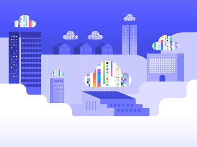 Cloud City clouds analytics cloud app cloud computing cloudy rainbow data analytics data cloud city city warehouse cloud data warehouse cloud storage cloud data cloud digital illustration illustration