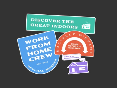 2020 Sticker Pack 2020 design stickers sticker badge great outdoors great indoors home remote work work from home coronavirus covid 2020 sticker mule stickermule sticker design sticker badge typography branding illustration digital illustration
