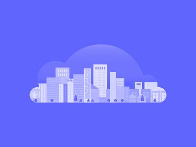 Cloud Cityscape cloud app gradient modern buildings urban cityscape cloud computing thoughtspot analytics warehouse cloud data metropolitan cities city tech data clouds cloud digital illustration illustration