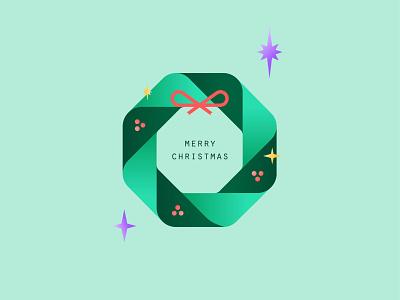 Wreath digital illustration minimalist bow ribbon christmas party stars star holly green wreaths 2020 trend holiday card christmas card wreath december winter holiday christmas merry christmas merry