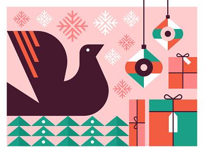 Christmas 2019 christmas tree bird doves stamped wrapping christmas season gifts holiday tree snowflake dove ornament present christmas vector digital illustration illustration