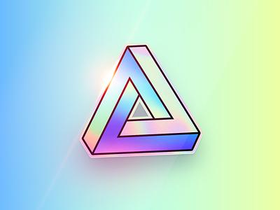 Penrose Triangle hologram holographic stickermule sticker logo vector illustration 80s badge retro