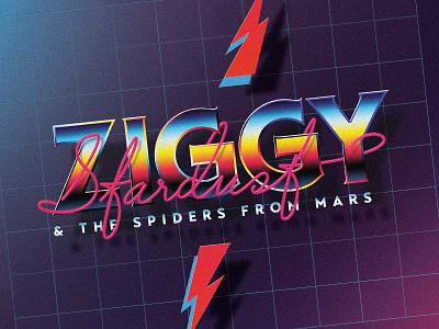 Ziggy Stardust & The Spiders from Mars album logo retro 80s bowie david