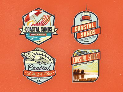 Beer labels retro vintage beer labels badge logo logos coastal sands orange ribbon