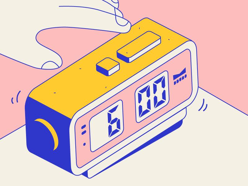 Ring Ring mi dude modern naive design illustration hand alarm clock