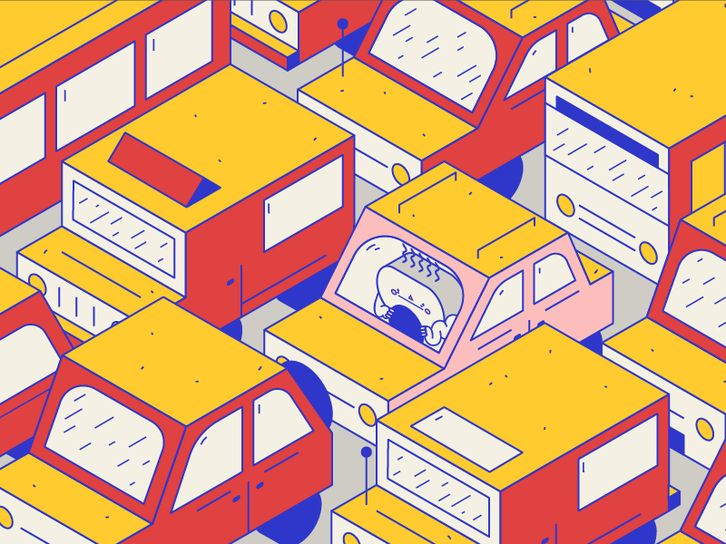 Maldito trafico cars modern naive minimal illustrator vector color illustration traffic