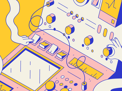 Bring Your Noodle Arms to Work Day isometric vector clean hands noodle machine color naive modern design illustration