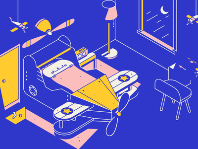 Plane Boi bedroom sleep night vector color isometric illustration plane