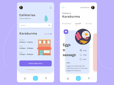 Student Cafeteria - Mobile App typography colors icon illustration vector mobile ui design app