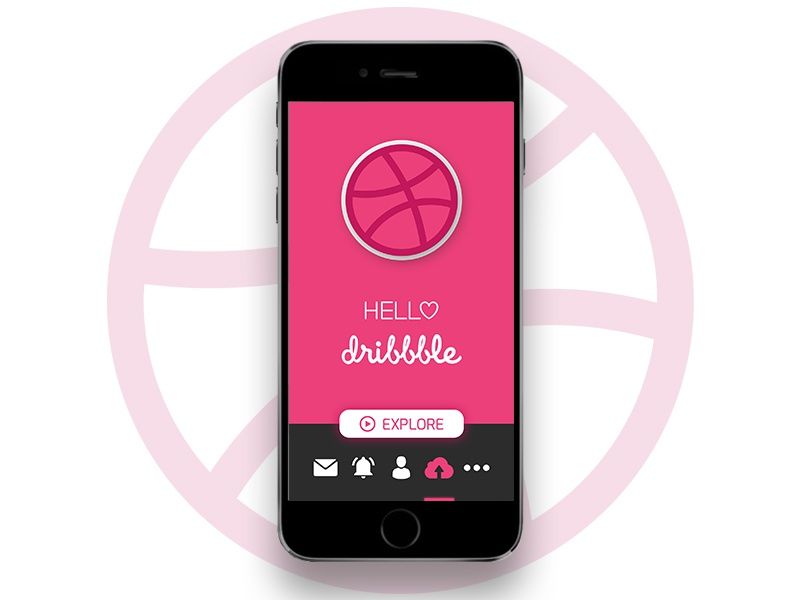 Hello Dribbble ux ui iphone iphone6 appdesign dribbble app animation welcome firstshot dribbble hello