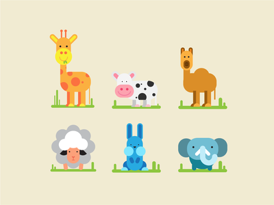 Herbivores - Geometric Animals Illustration
