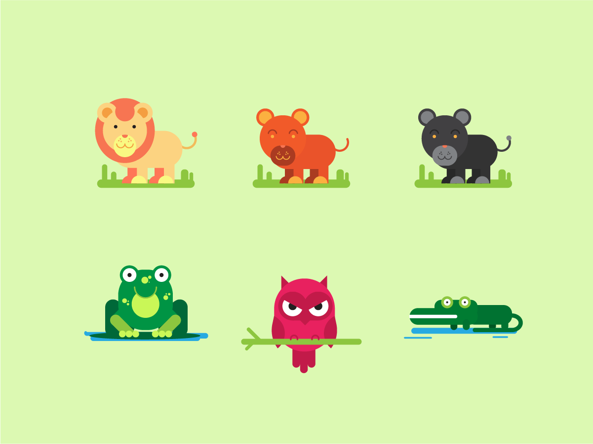 Carnivores - Geometric animals illustration flat design geometric shapes carnivores illustration