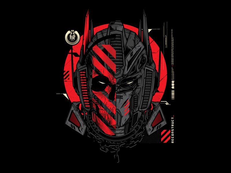 Hydro74 Collaboration optimus prime skull collaboration tech mech gundam transformer clothing tshirt hydro74 design illustration vector