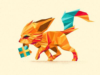 Fennec Fox fox vector animal polygonal flat design color illustration