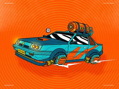 Let's Go Future! car flying festival kuala lumpur malaysia saga proton future digital design illustration vector