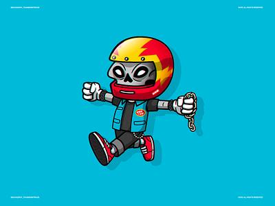 Roy Thunderstruck skull moto riders character illustration vector