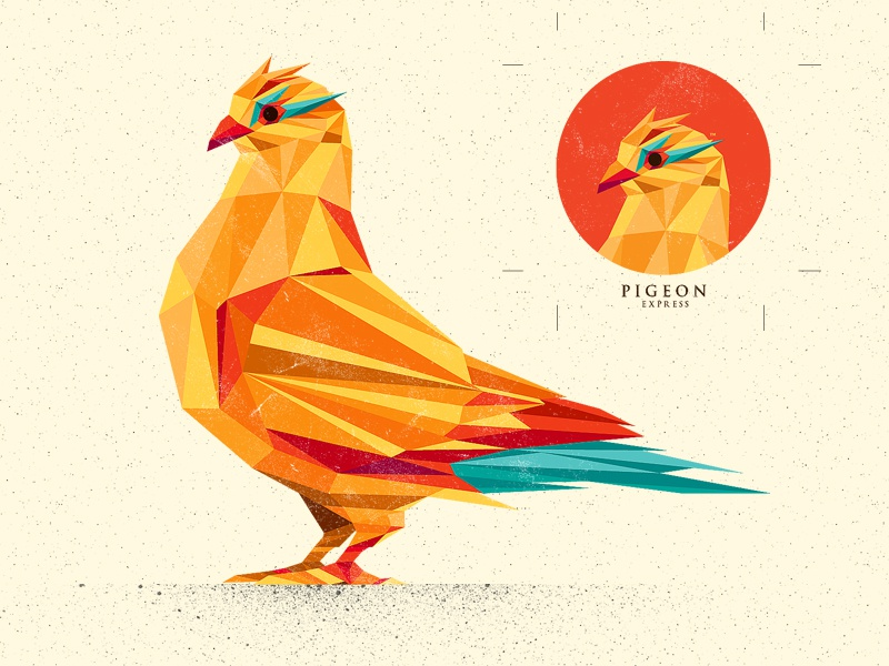Pigeon Express vector polygon lowpoly illustration logo pigeon bird