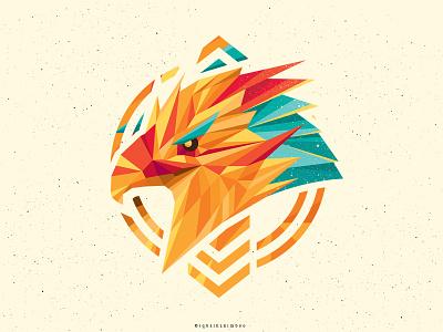 Where Eagles Dare vector doodle polygon lowpoly illustration color emblem logo eagle