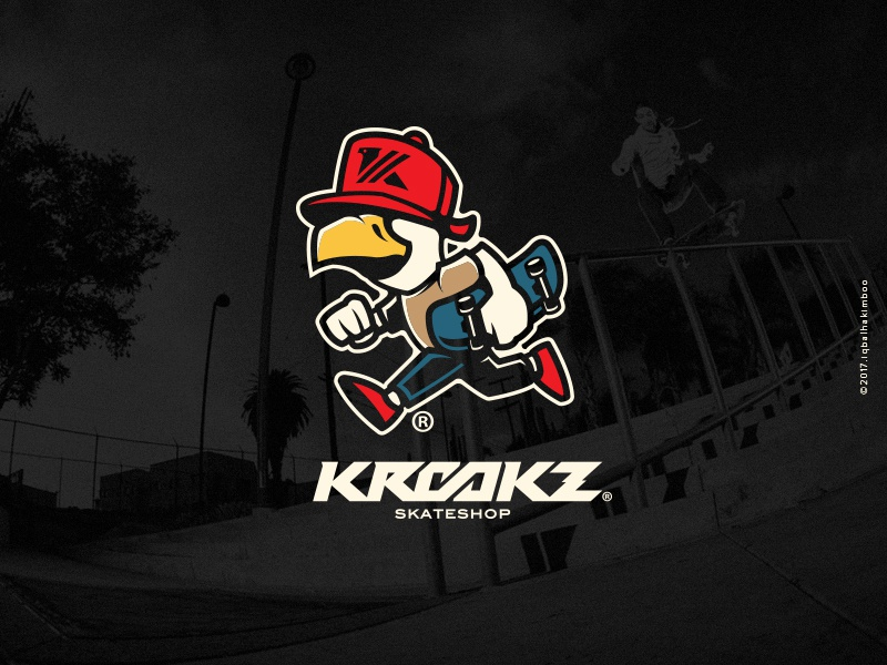 Krookz Skateshop vector bold merch design character illustration skateboarding
