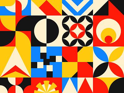 Pattern design artwork art branding mural mid century square block vector free swiss abstract 2d paper background pattern shape design geometric flat