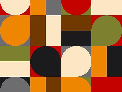 Mid cenury pattern ornament mural retro palette color mid bundle block abstract paper background shape pattern flat design geometric century