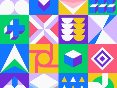 Neo Geo Pattern graphic bauhaus mural 2d vector square abstract background pattern flat design geometric