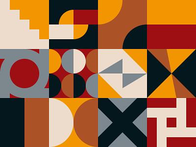 Neo Geo Pattern Design bundle bauhaus swiss minimal square shape background flat pattern design geometric