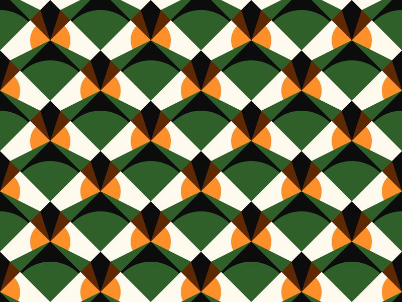 Retro geometric pattern design green modern vector graphic seamless rhombus mid century swiss minimal 2d abstract shape background design pattern flat geometric