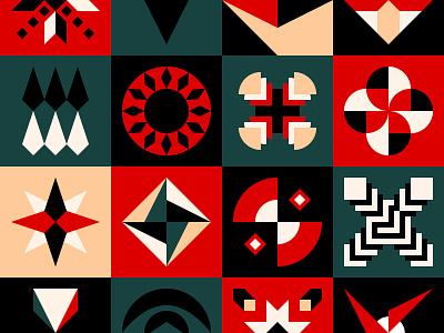 Graphic design geometric shapes figure form eye sun circle black green red 2d block square abstract shape background pattern flat design geometric