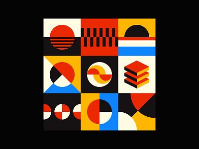 Geometric ART digital art brand identity visual print mural color bauhaus modernism background branding flat square vector abstract shape pattern geometric design