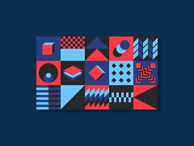 Seamless Geometric Pattern Bundle color bundle geometric designs perception geo packaging wrapper modular square cube swiss abstract 2d pattern shape paper geometric flat design