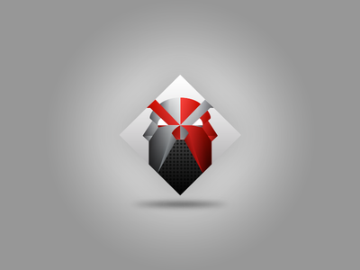 A bulldog and a guardian logo red black square gradients