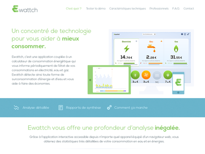Energy controler Redesign green blue light flat webdesign nexa one page white grey energy ecological
