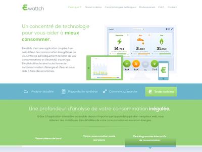 Energy controler Redesign 2 green blue light flat webdesign nexa one page white grey energy ecological