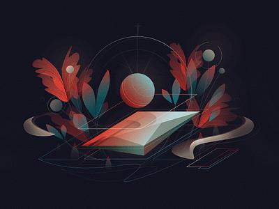 Koi plants koi poster abstract design lines minimal 2d illustration