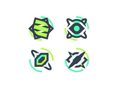 Game Icons lines minimal 2d gem skill eye green icons illustration game