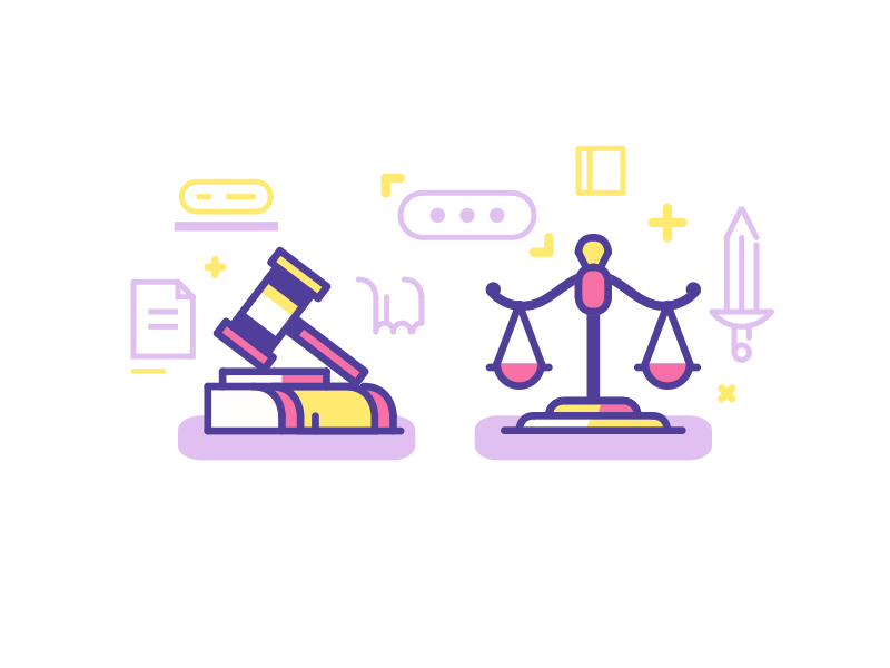 Law Icons court illustration lines 2d hammer scales justice order law icons