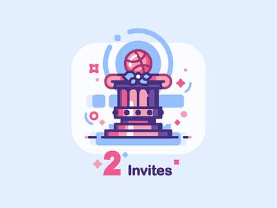 Two Dribbble Invites invite 2d icon lines illustration invitation invites dribbble