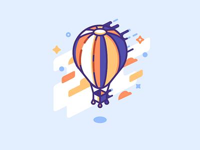 Air Balloon hot air balloon air balloon icon illustration minimal lines isometric balloon