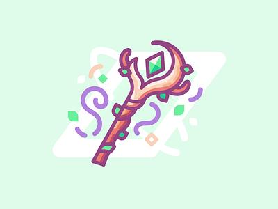 Druid's Wand icon illustration lines minimal druid nature magic wand staff green