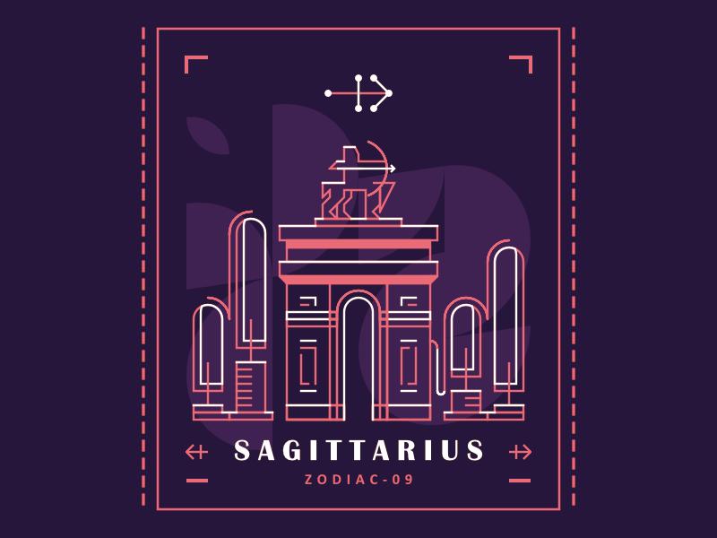 Sagittarius sagittarius poster archer zodiac design building minimal 2d lines illustration