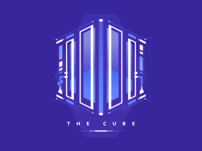 Cube isometric cube design minimal lines 2d illustration