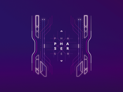 Phaser sci fi futuristic design minimal typography lines 2d illustration