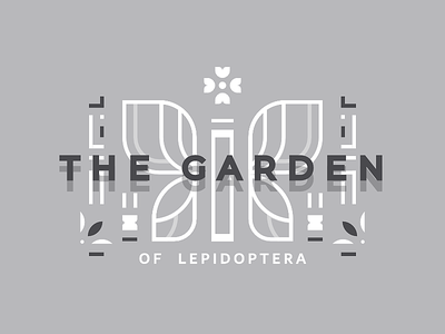 Garden monochrome logo butterfly garden typography design icon minimal lines 2d illustration