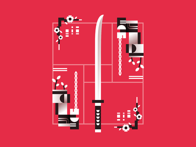 Katana abstract sword japanese katana poster design lines 2d minimal illustration