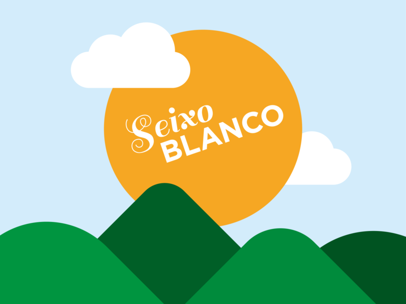 SEIXO BLANCO clouds mountain sun logo pattern minimalist geometry vector flat illustration illustrator design