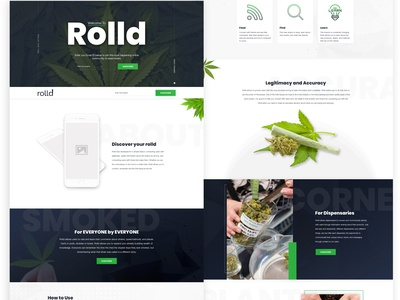 Rolld (Weed) App Landing Page Design For