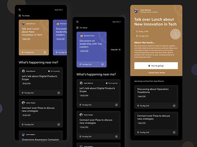 Concept Design for Event App - Dark Theme colors uidesign uxdesign cards minimal concept mobile app events food dark design
