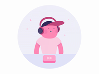Music Services - Illustration + Animation headphones play button product illustration motion character mobile pink illustration music app animation